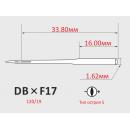 Иглы ORGAN DBXF17  №110/18 с тонкой колбой для универсальных швейных машин