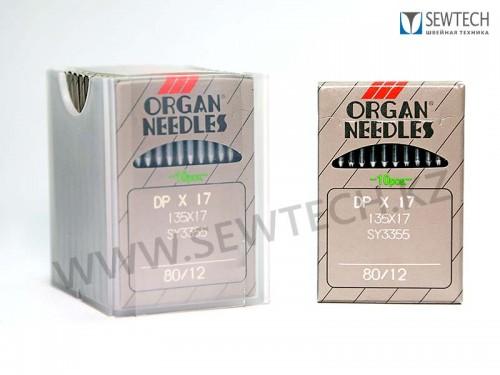 Иглы ORGAN DPx17 №80/12 с толстой колбой для универсальных швейных машин